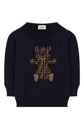 Детский хлопковый пуловер FENDI синего цвета, арт. BUG040/A3TE/3M-9M | Фото 1