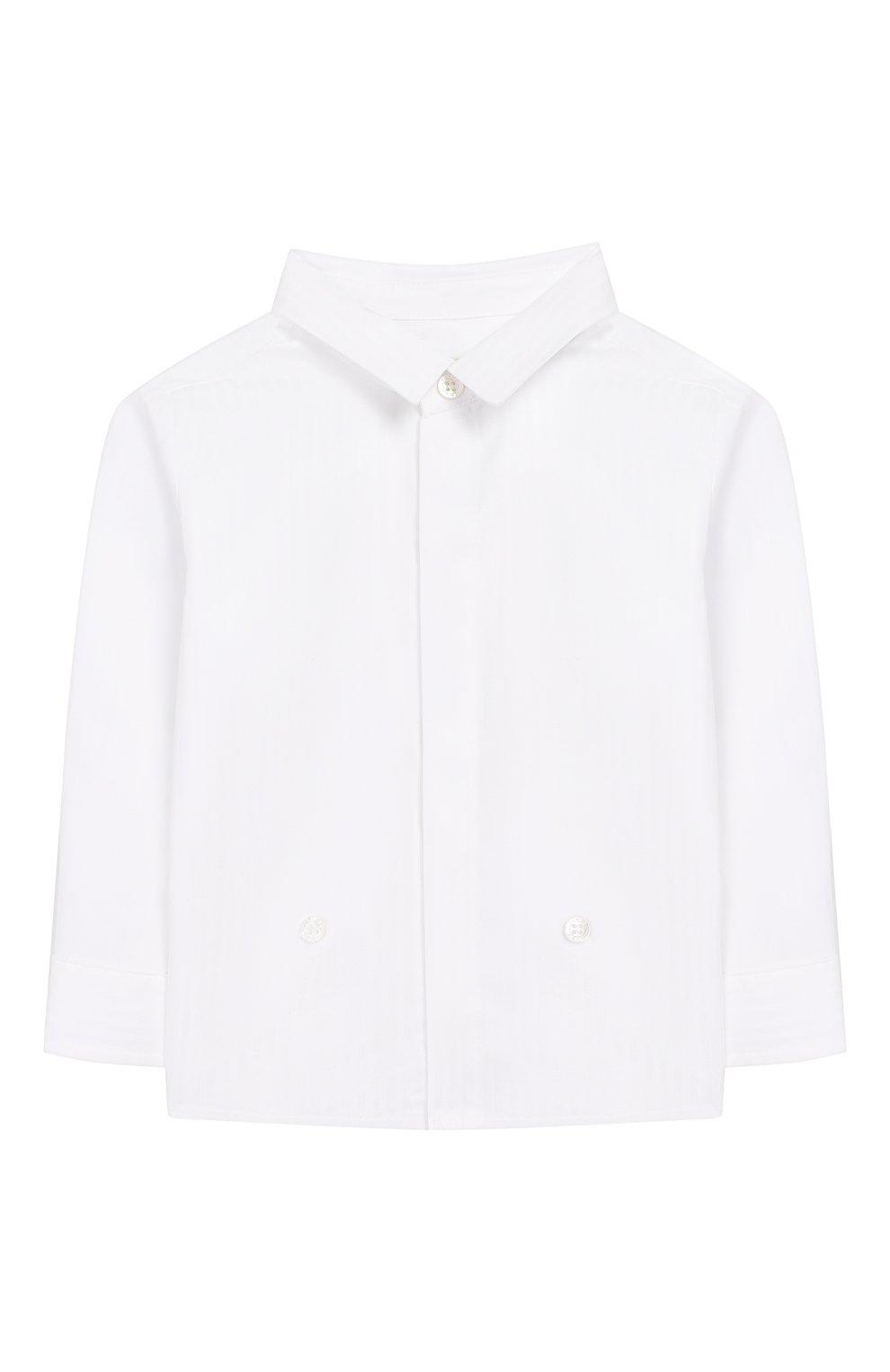 Детский хлопковая рубашка FENDI белого цвета, арт. BMC059/ABYN/12M-24M | Фото 1