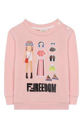 Детский хлопковый свитшот FENDI светло-розового цвета, арт. BFH056/5V0/12M-24M | Фото 1