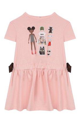 Женский хлопковое платье FENDI светло-розового цвета, арт. BFB304/7AJ/12M-24M | Фото 1