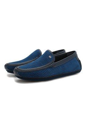 Мужские замшевые мокасины ZILLI синего цвета, арт. MDT-M041/0B3/12-15 | Фото 1