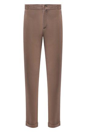 Мужской льняные брюки KITON коричневого цвета, арт. UFPLACJ07S40 | Фото 1