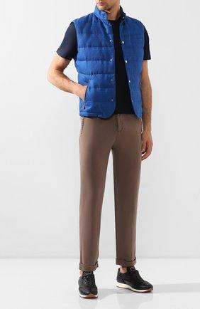 Мужской льняные брюки KITON коричневого цвета, арт. UFPLACJ07S40 | Фото 2