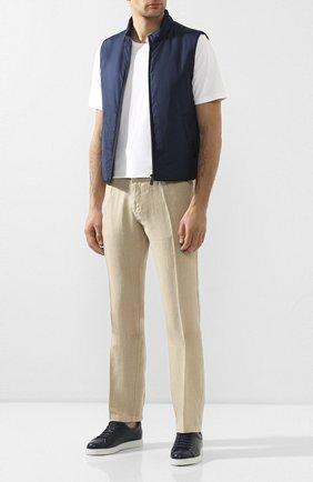 Мужские льняные брюки CORNELIANI бежевого цвета, арт. 854EX5-0120184/00 | Фото 2