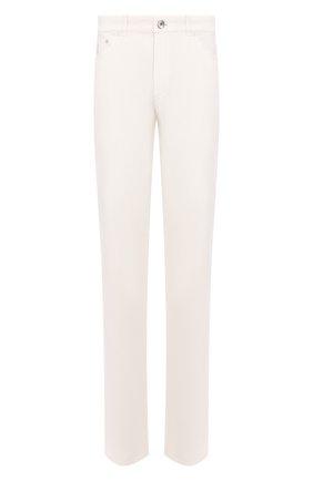 Мужской хлопковые брюки BRUNELLO CUCINELLI белого цвета, арт. M079DB1070 | Фото 1