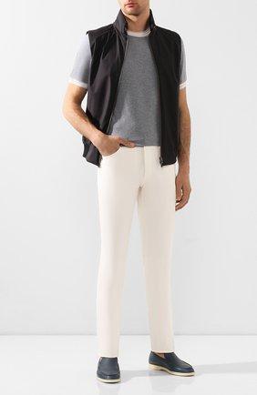 Мужской хлопковые брюки BRUNELLO CUCINELLI белого цвета, арт. M079DB1070 | Фото 2