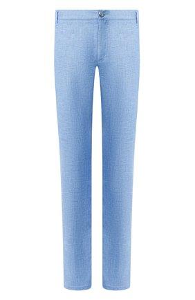 Мужские льняные брюки ZILLI голубого цвета, арт. M0T-D0181-LIN01/R001   Фото 1
