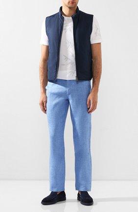 Мужские льняные брюки ZILLI голубого цвета, арт. M0T-D0181-LIN01/R001   Фото 2
