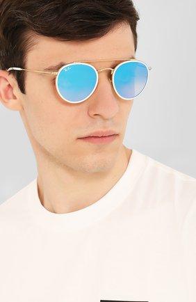 Женские солнцезащитные очки RAY-BAN голубого цвета, арт. 3647N-001/40 | Фото 3