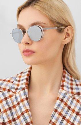 Женские солнцезащитные очки THOM BROWNE серебряного цвета, арт. TB-106-B | Фото 2