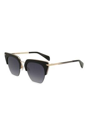 Женские солнцезащитные очки RAG&BONE черного цвета, арт. RNB1007 2M2   Фото 1 (Тип очков: С/з; Оптика Гендер: оптика-женское; Очки форма: Прямоугольные)