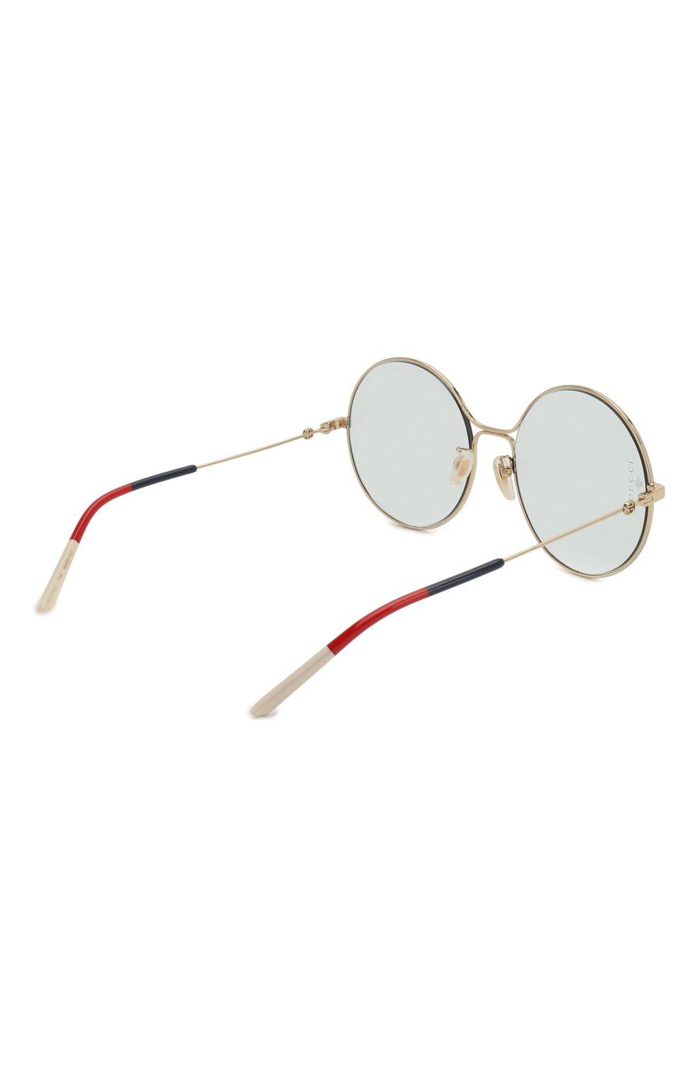 Женские солнцезащитные очки GUCCI голубого цвета, арт. GG0395 006   Фото 4