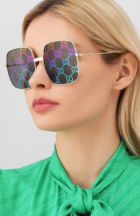 Женские солнцезащитные очки GUCCI черного цвета, арт. GG0414 003   Фото 2
