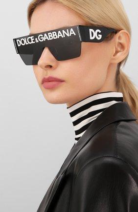 Женские солнцезащитные очки DOLCE & GABBANA черного цвета, арт. 2233-01/87 | Фото 2 (Тип очков: С/з; Очки форма: Маска, D-форма; Оптика Гендер: оптика-унисекс)