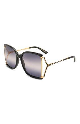Женские солнцезащитные очки GUCCI черного цвета, арт. GG0592S 002 | Фото 1