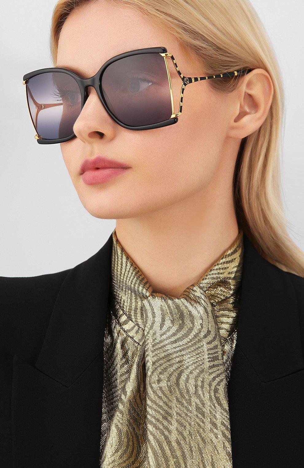 Женские солнцезащитные очки GUCCI черного цвета, арт. GG0592S 002 | Фото 2