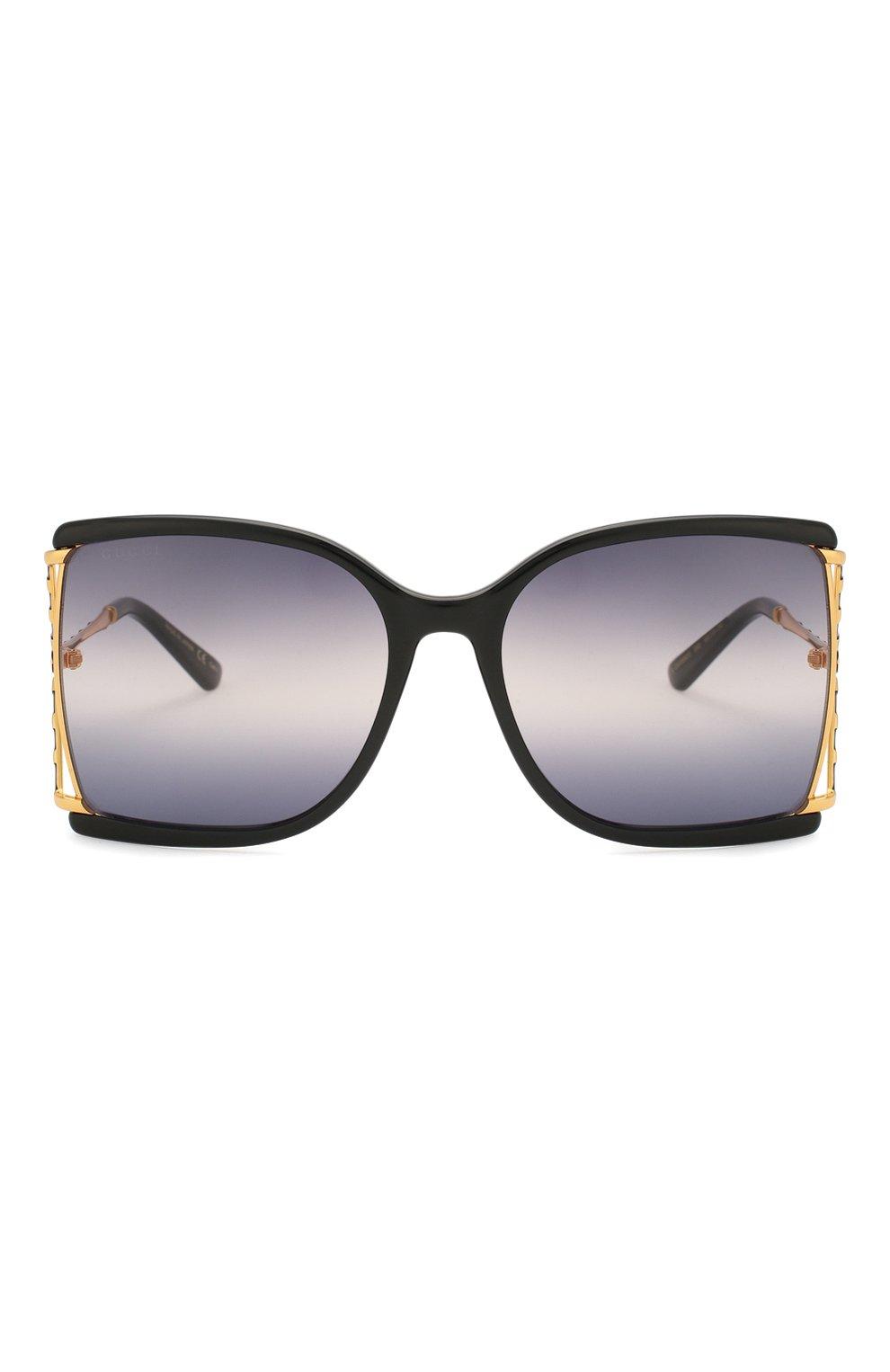 Женские солнцезащитные очки GUCCI черного цвета, арт. GG0592S 002 | Фото 3