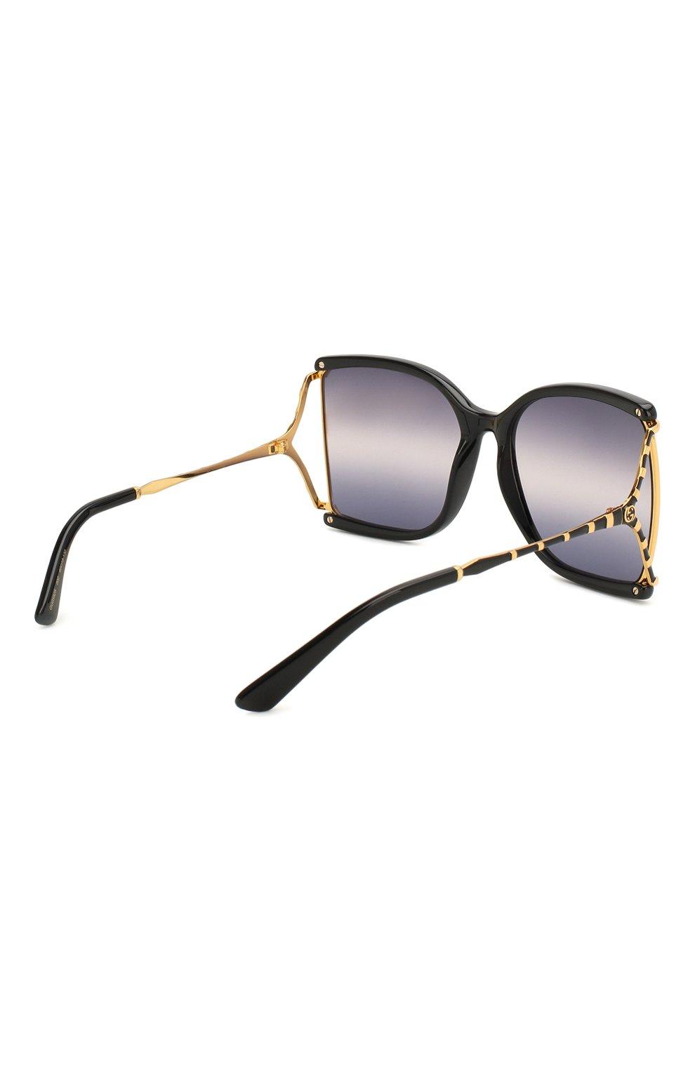 Женские солнцезащитные очки GUCCI черного цвета, арт. GG0592S 002 | Фото 4