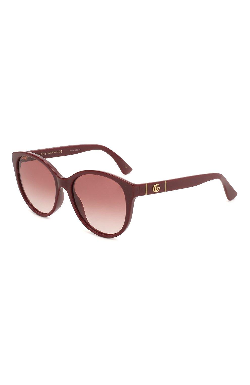 Женские солнцезащитные очки GUCCI бордового цвета, арт. GG0631S 003 | Фото 1