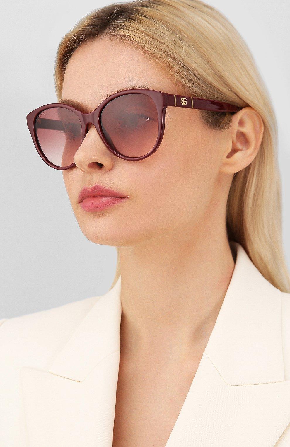 Женские солнцезащитные очки GUCCI бордового цвета, арт. GG0631S 003 | Фото 2