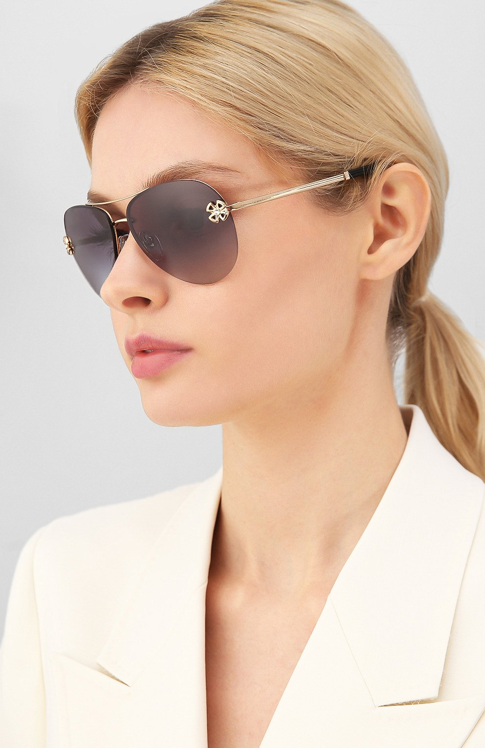 Женские солнцезащитные очки BVLGARI черного цвета, арт. 6137B-20148G | Фото 2