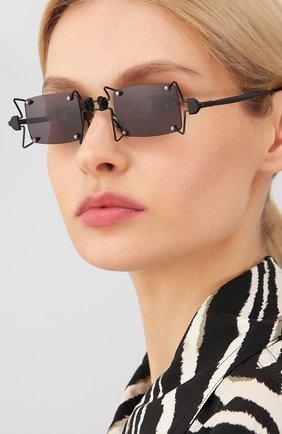 Женские солнцезащитные очки INNERRAUM черного цвета, арт. 099 BM GREY   Фото 2 (Тип очков: С/з; Очки форма: Креативные, Прямоугольные; Оптика Гендер: оптика-унисекс)