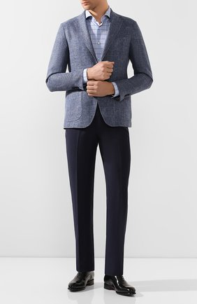 Мужская хлопковая сорочка BOSS голубого цвета, арт. 50433337 | Фото 2