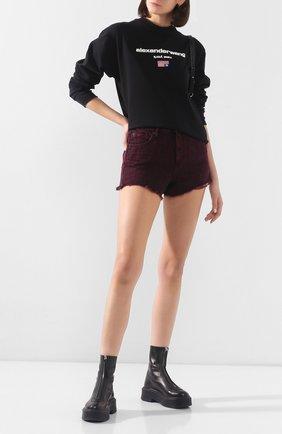 Женские джинсовые шорты ALEXANDERWANG.T розового цвета, арт. 4DC1204689 | Фото 2 (Женское Кросс-КТ: Шорты-одежда; Кросс-КТ: Деним; Длина Ж (юбки, платья, шорты): Мини; Материал внешний: Хлопок; Стили: Кэжуэл)