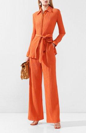 Женские брюки из смеси хлопка и шелка GABRIELA HEARST оранжевого цвета, арт. 220202/T025/40   Фото 2