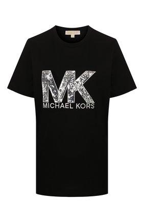 Женская хлопковая футболка MICHAEL MICHAEL KORS черного цвета, арт. MH95MCE97J | Фото 1
