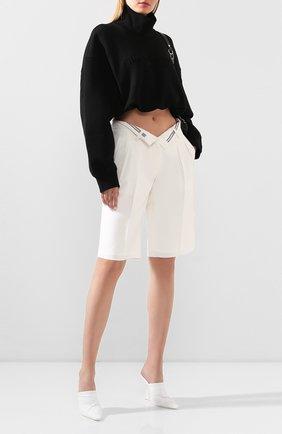 Женские шорты из смеси вискозы и шерсти ALEXANDER WANG белого цвета, арт. 1WC1204257 | Фото 2