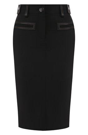 Женская шерстяная юбка TOM FORD черного цвета, арт. GC5508-FAX236 | Фото 1 (Материал подклада: Шелк; Материал внешний: Шерсть; Женское Кросс-КТ: Юбка-одежда; Длина Ж (юбки, платья, шорты): До колена)