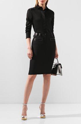 Женская шерстяная юбка TOM FORD черного цвета, арт. GC5508-FAX236 | Фото 2 (Материал подклада: Шелк; Материал внешний: Шерсть; Женское Кросс-КТ: Юбка-одежда; Длина Ж (юбки, платья, шорты): До колена)