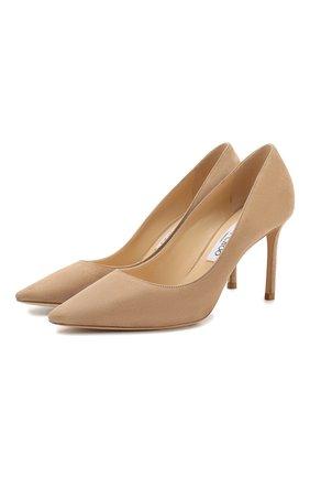 Женская замшевые туфли romy 85 JIMMY CHOO бежевого цвета, арт. R0MY 85/SUE | Фото 1