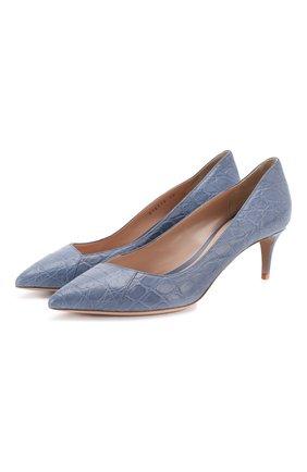 Женская кожаные туфли GIORGIO ARMANI голубого цвета, арт. X1E718/XF085/CCR0 | Фото 1
