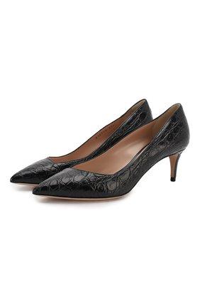 Женская кожаные туфли GIORGIO ARMANI темно-синего цвета, арт. X1E718/XF085/CCR0 | Фото 1