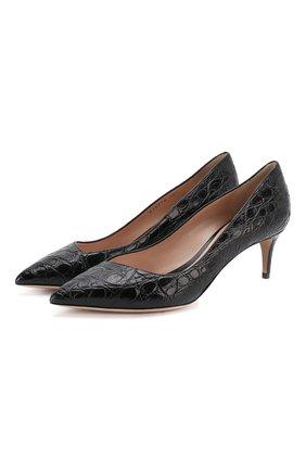 Женская кожаные туфли GIORGIO ARMANI черного цвета, арт. X1E718/XF085/CCR0 | Фото 1