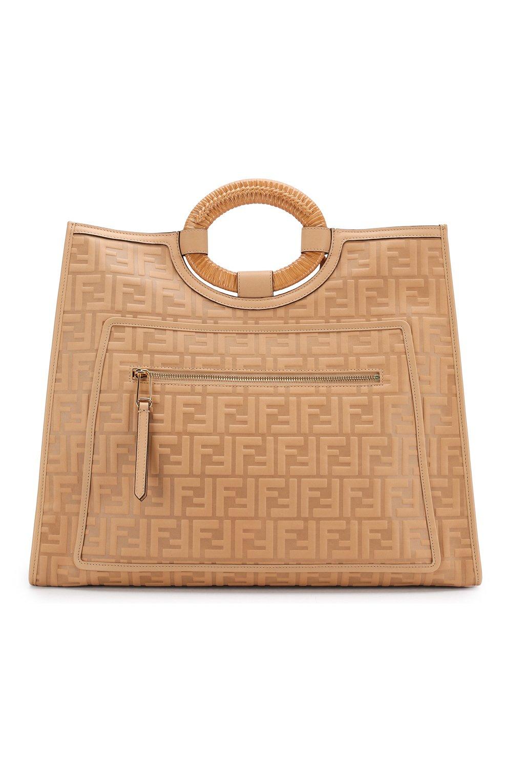 Женская сумка-тоут FENDI бежевого цвета, арт. 8BH351 AAIJ   Фото 1