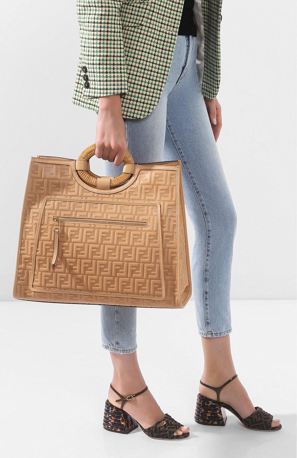 Женская сумка-тоут FENDI бежевого цвета, арт. 8BH351 AAIJ   Фото 2