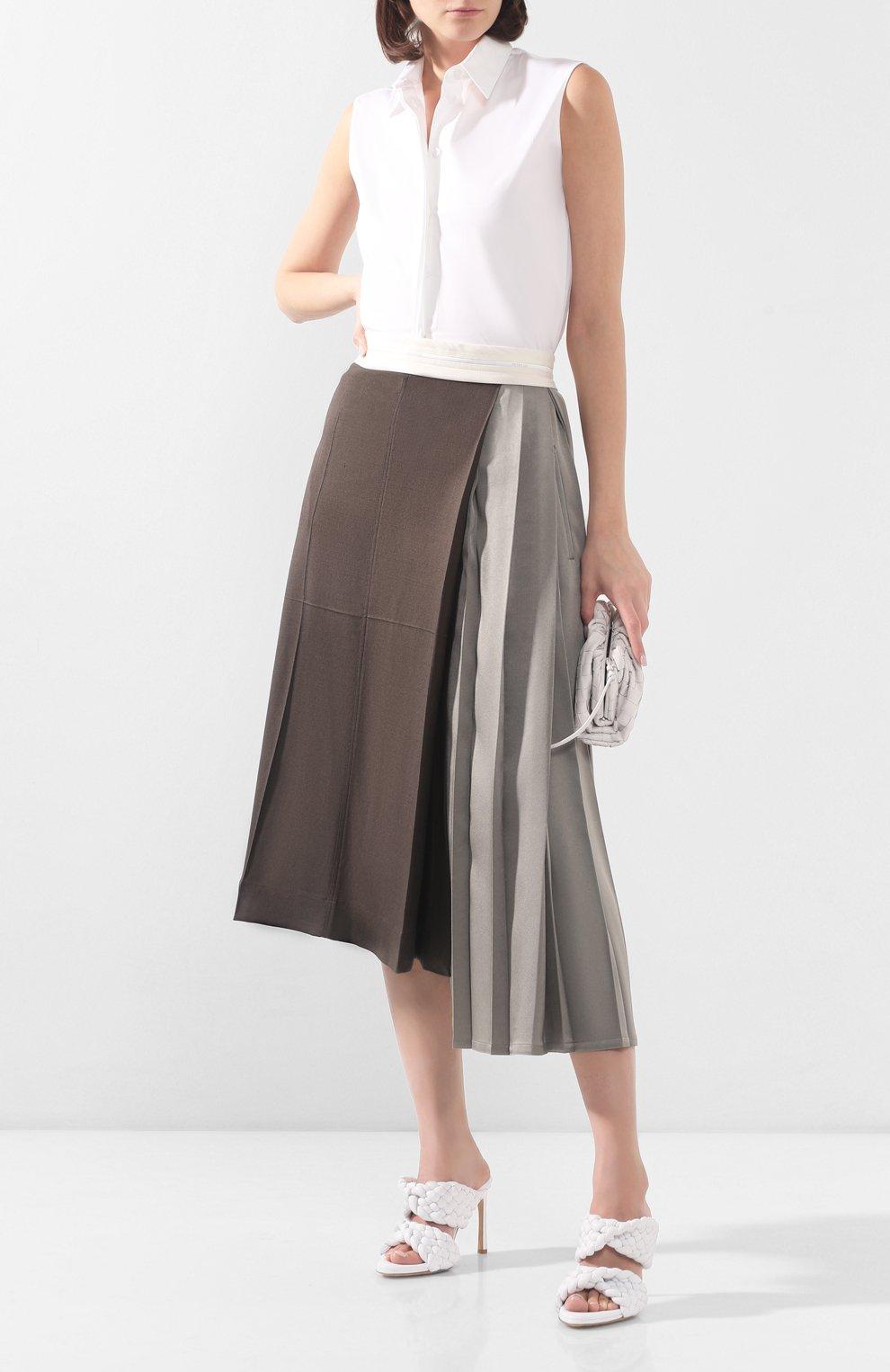 Женские кожаные мюли bv curve BOTTEGA VENETA белого цвета, арт. 618757/VBTG0   Фото 2