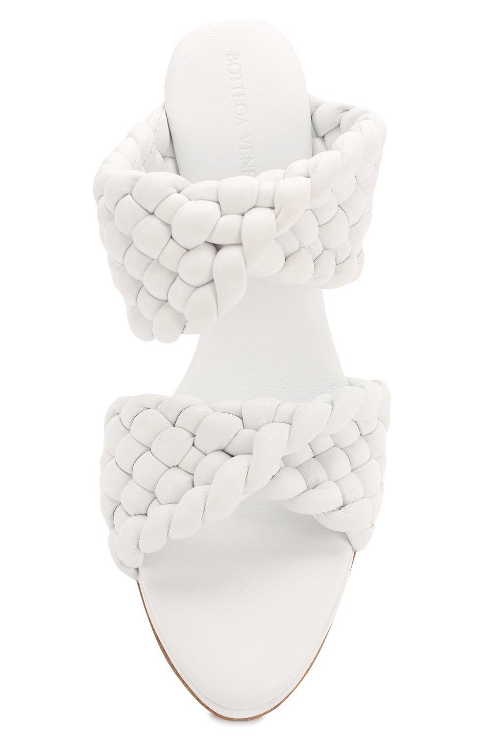Женские кожаные мюли bv curve BOTTEGA VENETA белого цвета, арт. 618757/VBTG0   Фото 5