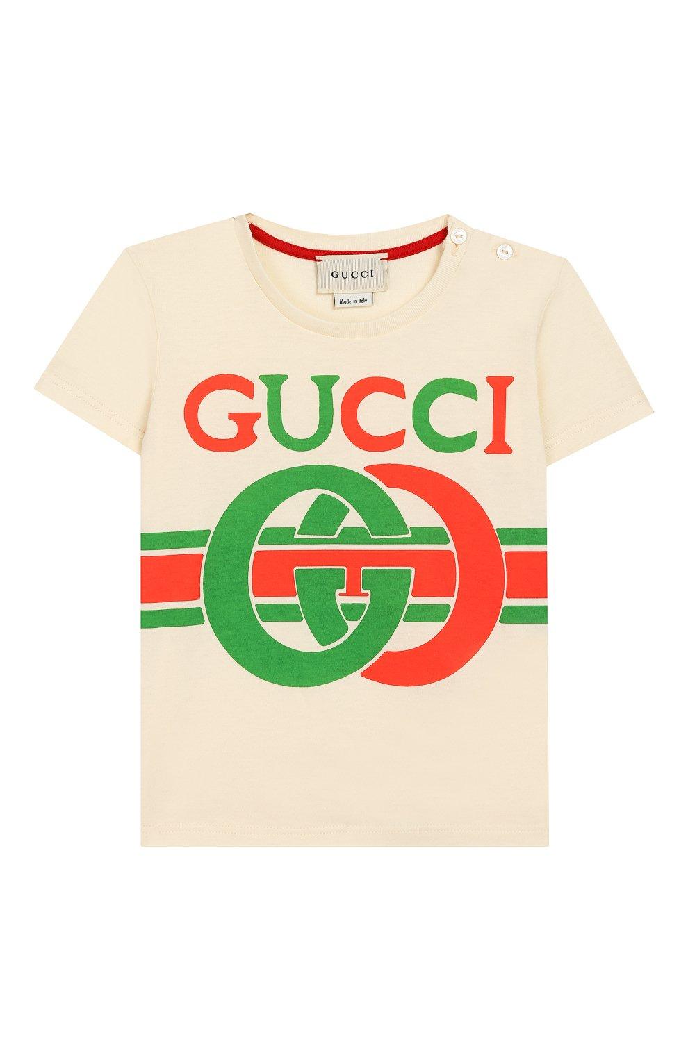 Детский хлопковая футболка GUCCI белого цвета, арт. 548034/XJBCG | Фото 1