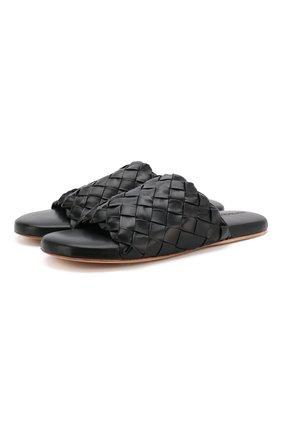Мужские кожаные шлепанцы BOTTEGA VENETA черного цвета, арт. 620298/VBTR0 | Фото 1