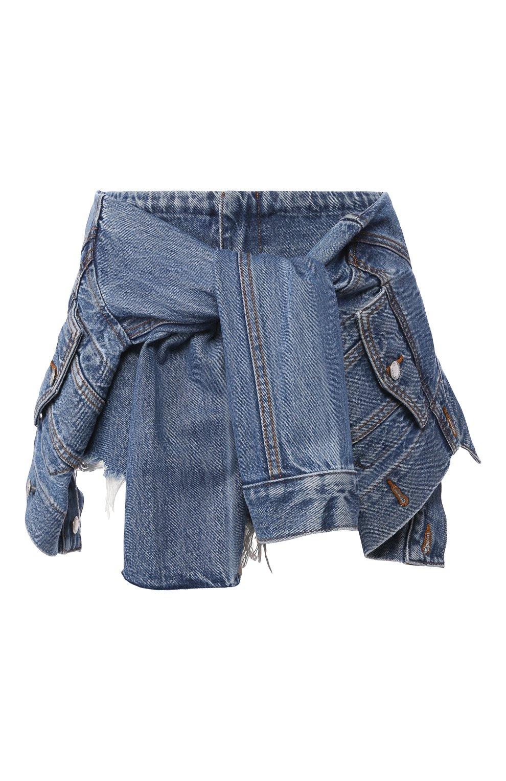 Женские джинсовые шорты ALEXANDERWANG.T темно-синего цвета, арт. 4DC1204610 | Фото 1 (Женское Кросс-КТ: Шорты-одежда; Кросс-КТ: Деним; Длина Ж (юбки, платья, шорты): Мини; Материал внешний: Хлопок, Лиоцелл)