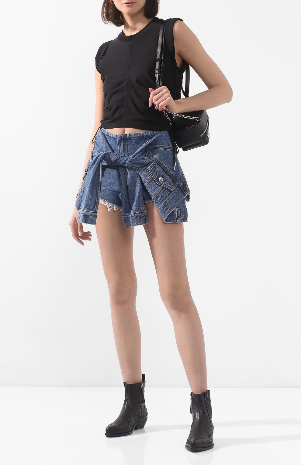 Женские джинсовые шорты ALEXANDERWANG.T темно-синего цвета, арт. 4DC1204610 | Фото 2 (Женское Кросс-КТ: Шорты-одежда; Кросс-КТ: Деним; Длина Ж (юбки, платья, шорты): Мини; Материал внешний: Хлопок, Лиоцелл)