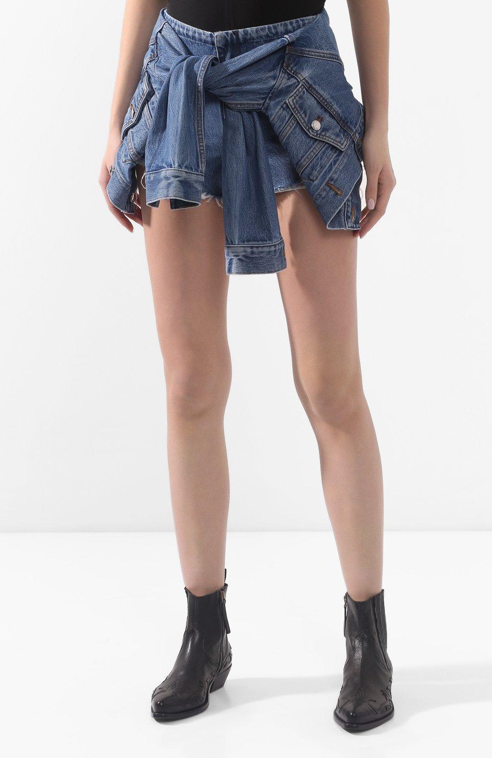 Женские джинсовые шорты ALEXANDERWANG.T темно-синего цвета, арт. 4DC1204610 | Фото 3 (Женское Кросс-КТ: Шорты-одежда; Кросс-КТ: Деним; Длина Ж (юбки, платья, шорты): Мини; Материал внешний: Хлопок, Лиоцелл)
