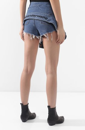 Женские джинсовые шорты ALEXANDERWANG.T темно-синего цвета, арт. 4DC1204610 | Фото 4 (Женское Кросс-КТ: Шорты-одежда; Кросс-КТ: Деним; Длина Ж (юбки, платья, шорты): Мини; Материал внешний: Хлопок, Лиоцелл)