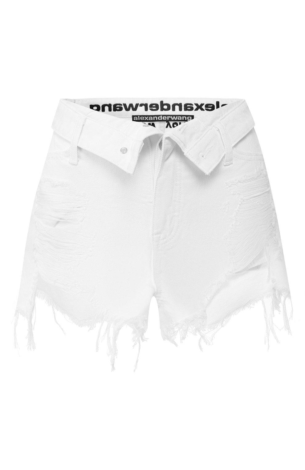 Женские джинсовые шорты ALEXANDERWANG.T белого цвета, арт. 4DC1204685 | Фото 1 (Женское Кросс-КТ: Шорты-одежда; Кросс-КТ: Деним; Длина Ж (юбки, платья, шорты): Мини; Материал внешний: Хлопок; Стили: Кэжуэл)