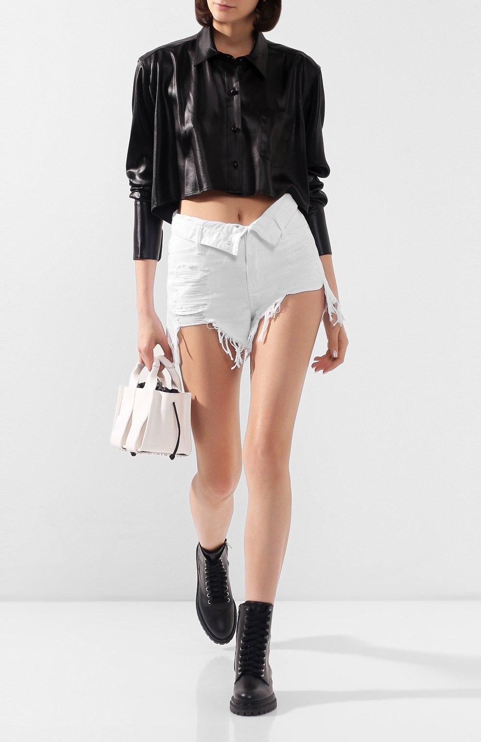 Женские джинсовые шорты ALEXANDERWANG.T белого цвета, арт. 4DC1204685 | Фото 2 (Женское Кросс-КТ: Шорты-одежда; Кросс-КТ: Деним; Длина Ж (юбки, платья, шорты): Мини; Материал внешний: Хлопок; Стили: Кэжуэл)