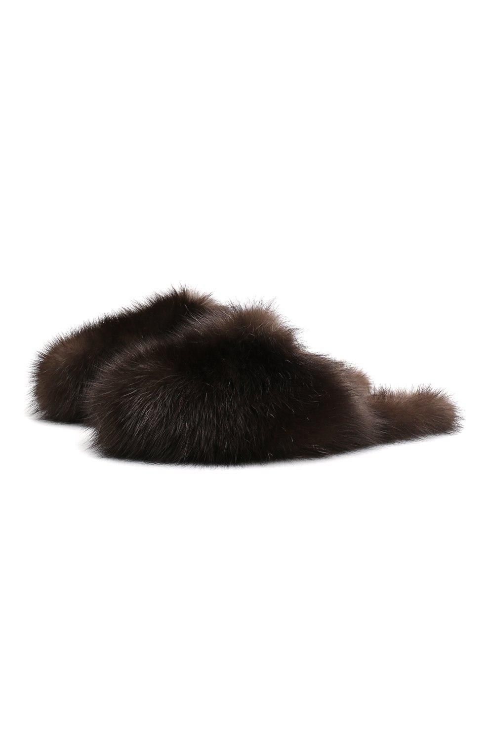Женского домашние мюли enigma из меха соболя BLACK SABLE коричневого цвета, арт. BS-001M/EB   Фото 1
